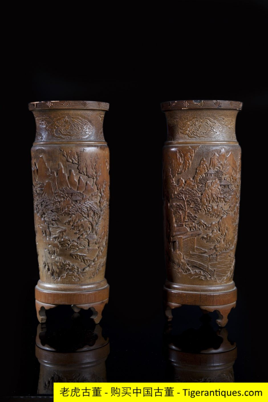 An Exceptional Pair Of Large Bamboo Vases